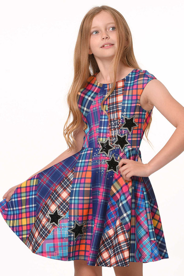 Hannah Banana Girls Fit and Flare Plaid Skater Dress