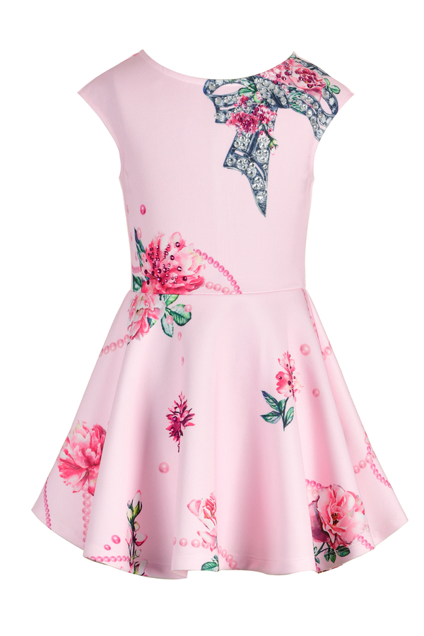 Girls Fit and Flare Summer Skater Dress with Jeweled Bow