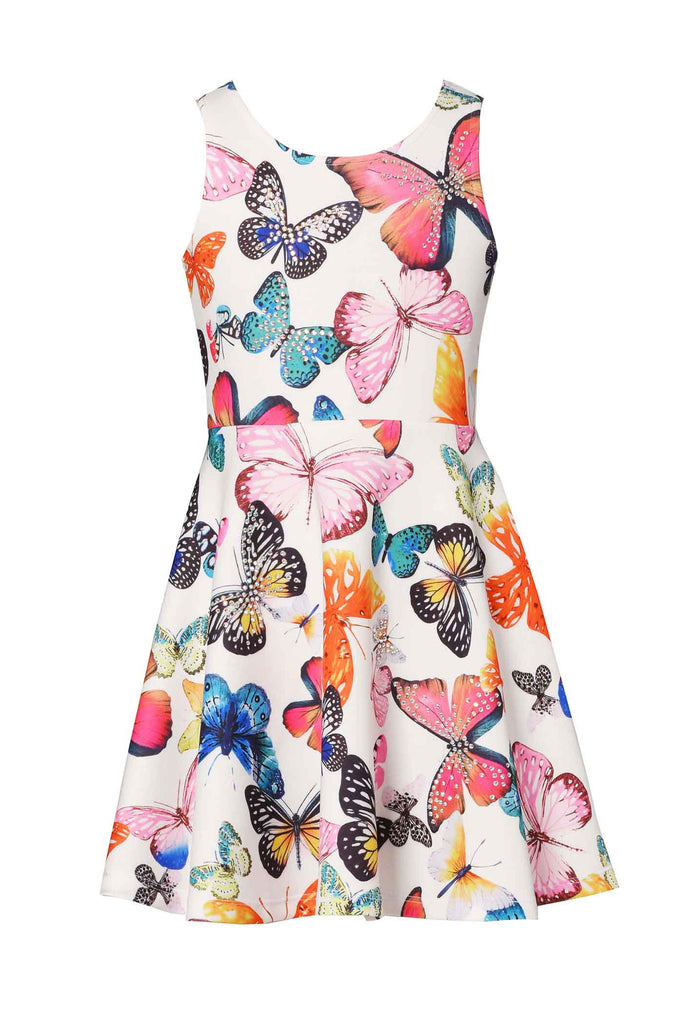 Hannah Banana Girls Butterfly Sleeveless Skater Dress