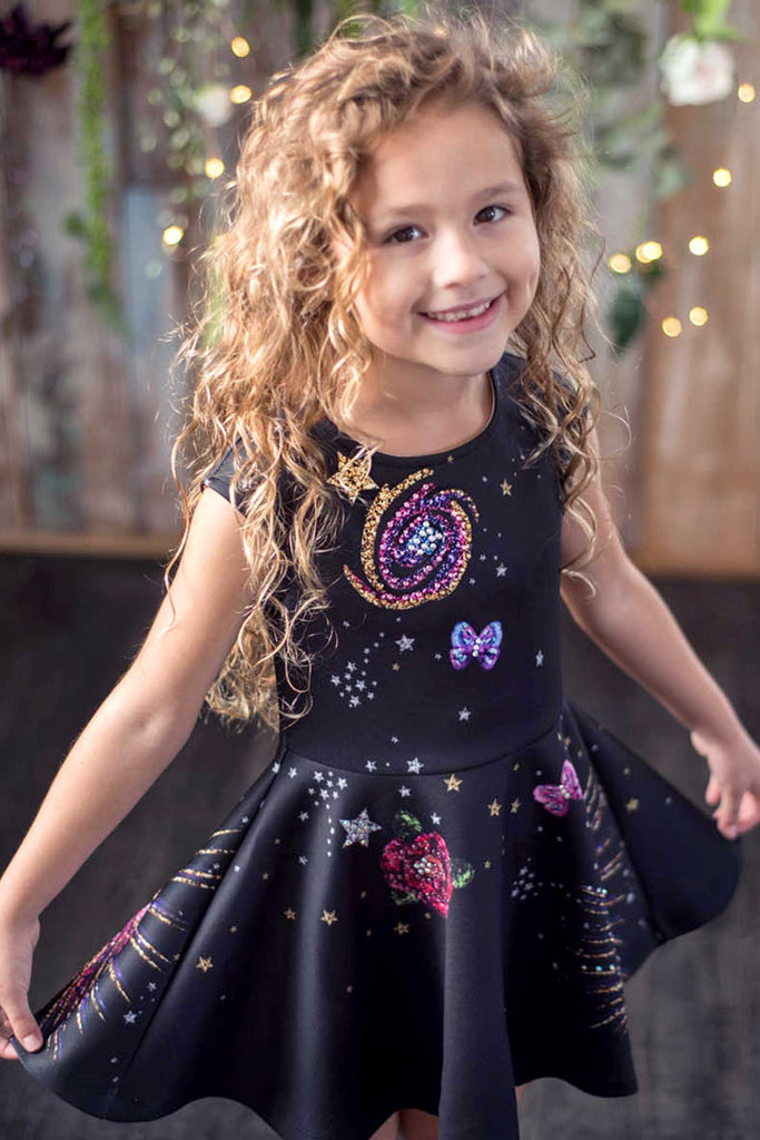 Hannah Banana Little Girls Space Theme Skater Dress