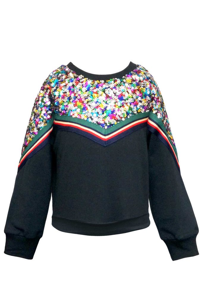 Hannah Banana Girls Sequin Paneled Sweatshirt