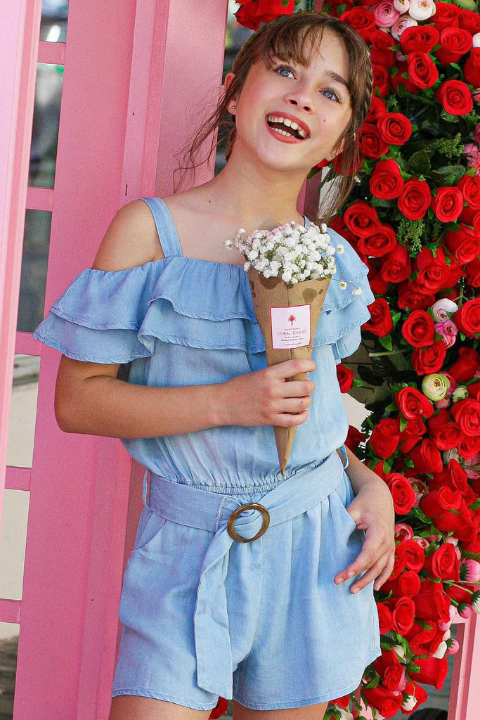 Hannah Banana Girls Cold Shoulder Ruffled Chambray Romper
