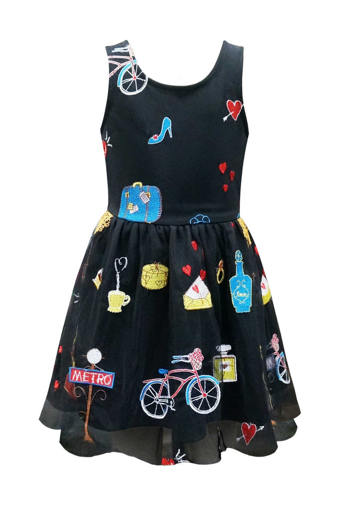 Hannah banana Girls Sleeveless Travel Lover Embroidered Mesh Dress