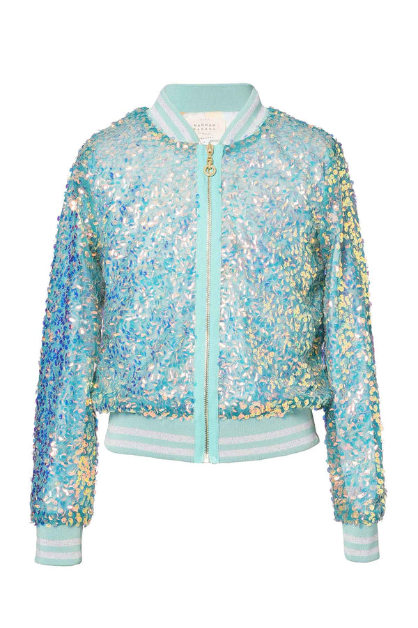 Hannah Banana Girls Holographic Sequin Fashion Bomber Jacket