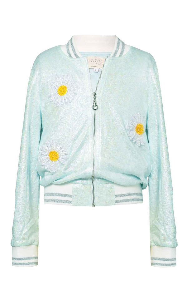 Hannah Banana Girls Beaded Daisy Patch Bomber Jacket