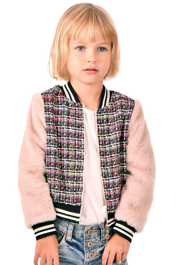 Hannah Banana Girls Tweed and Fur Fashion Bomber Jacket