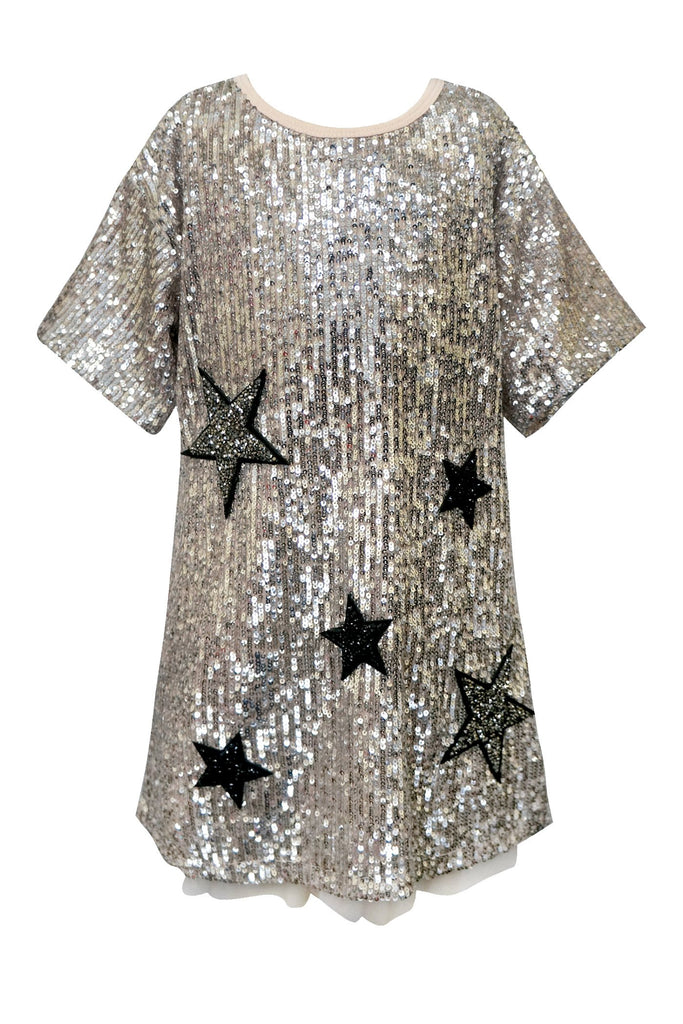 SHORT SLEEVE SEQUIN A-LINE DRESS WITH STAR PATCHES