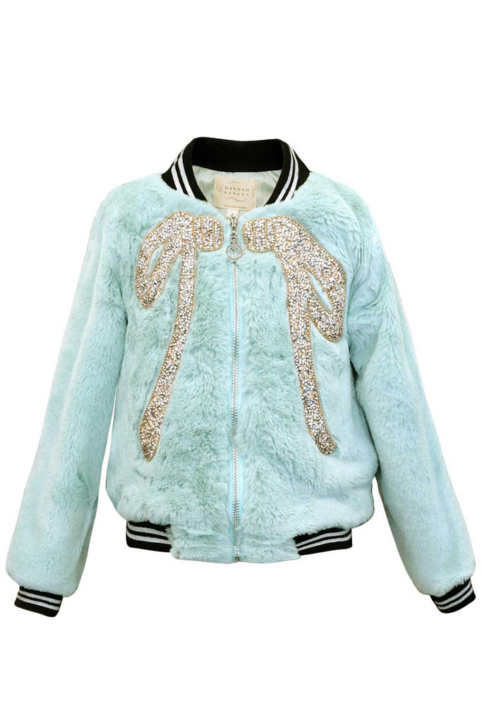 Hannah Banana Little Girls Faux Fur Jeweled Bow Bomber Jacket