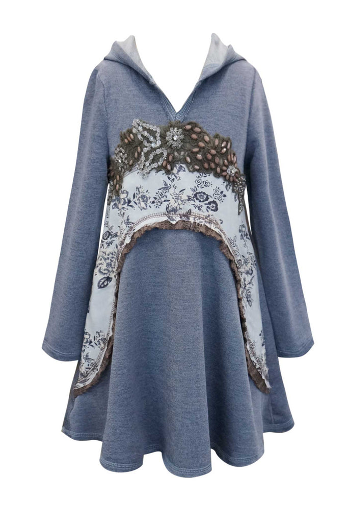 Hannah Banana Girls Hooded Long Sleeve Boho Knit Dress
