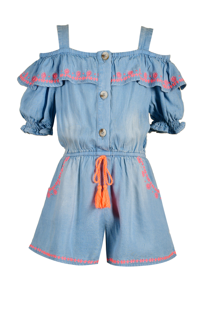 Girls Cold Shoulder Embroidered Boho Chambray Summer Romper