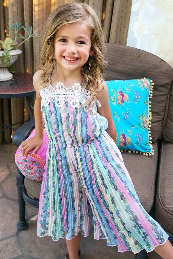 Girls Rainbow Palm Tree Tropical Print Pleated Summer Jumpsuit