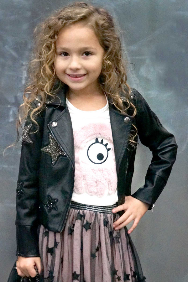 Hannah Banana Girls Star Patch Faux Leather Biker Jacket