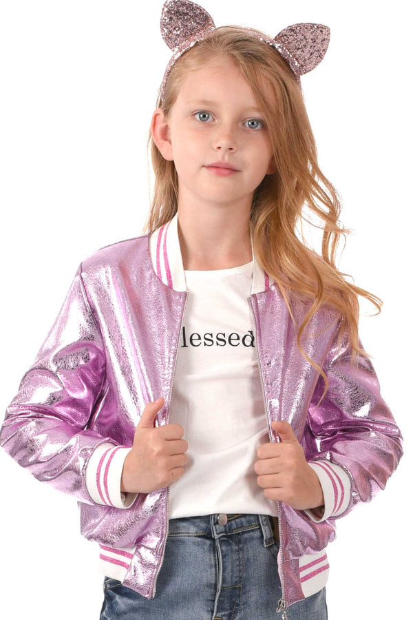 Hannah Banana Big Girls Metallic Cat Bomber Jacket