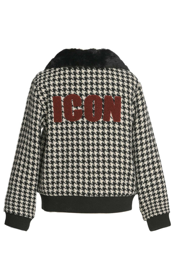 Hannah Banana Girls Icon Houndstooth Fur Collar Jacket