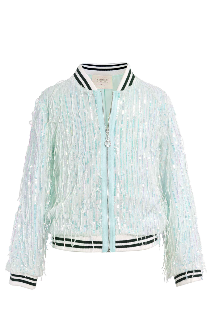 Girls Fringe Sequin Fashion Bomber Jacket