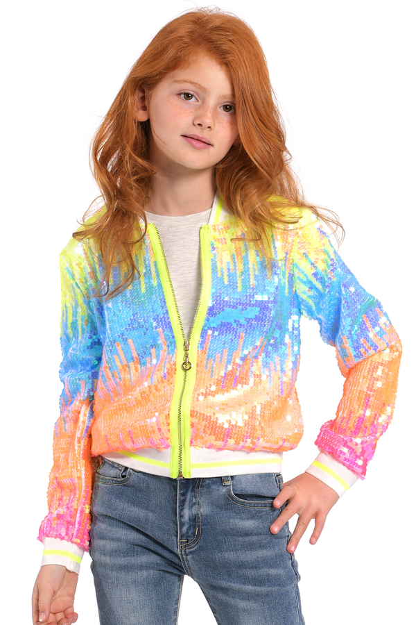 Girls Neon Color Sequin Fashion Bomber Jacket