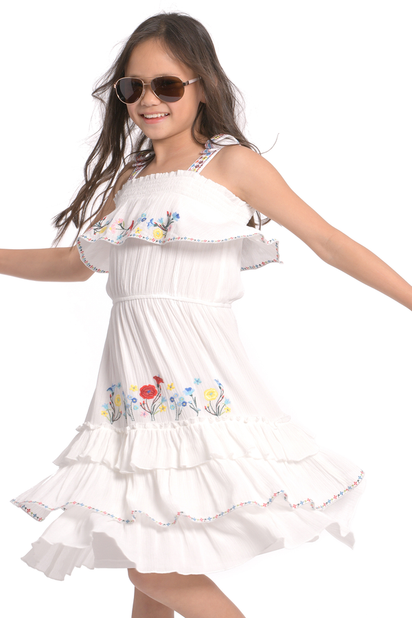 Girls Flower Embroidered Boho Style Ruffle Tiered Midi Dress