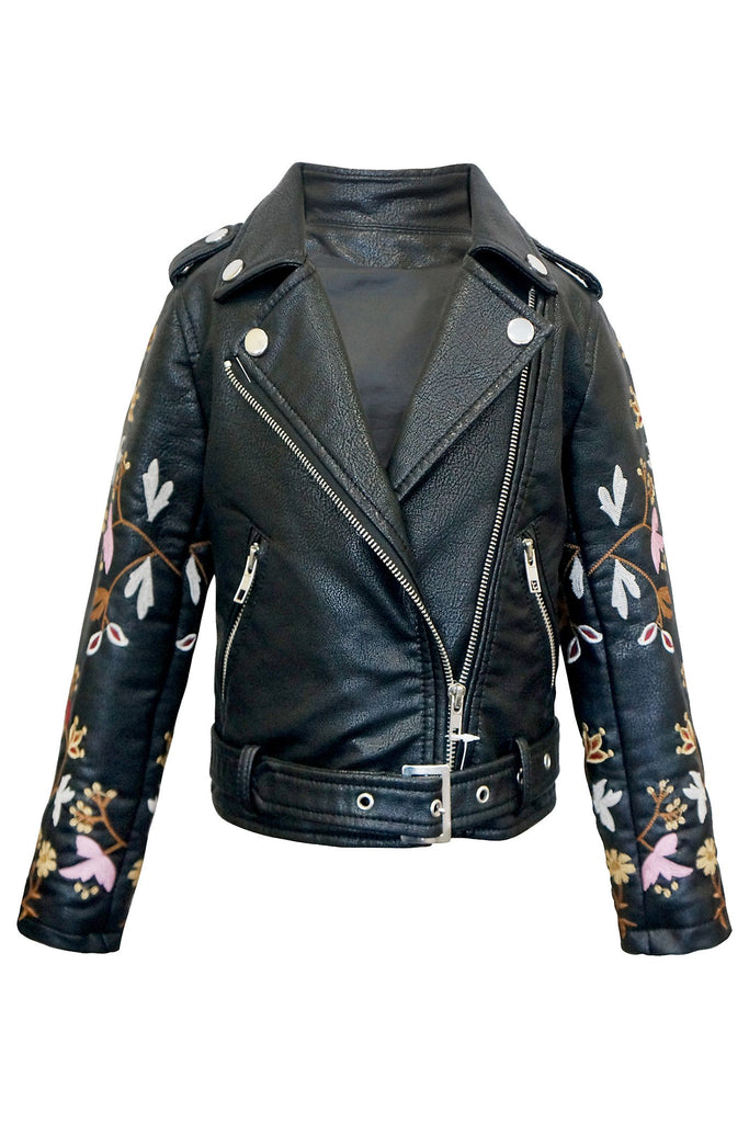 FAUX LEATHER BIKER JACKET WITH EMBROIDERED SLEEVE