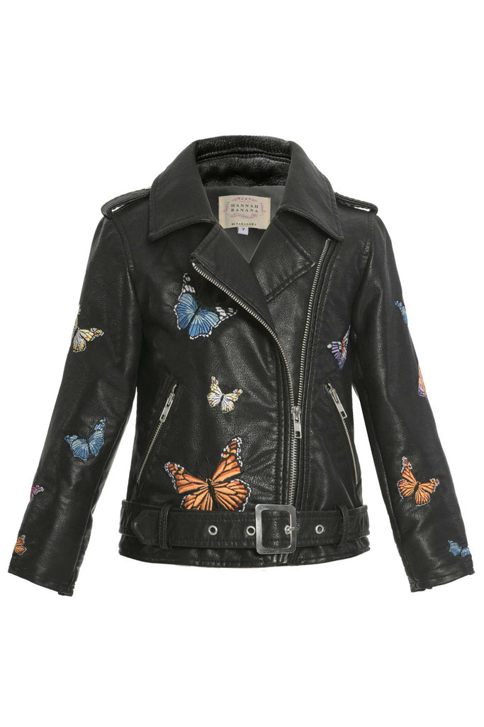 Hannah Banana Girls Butterfly Embroidery Faux Leather Biker Jacket
