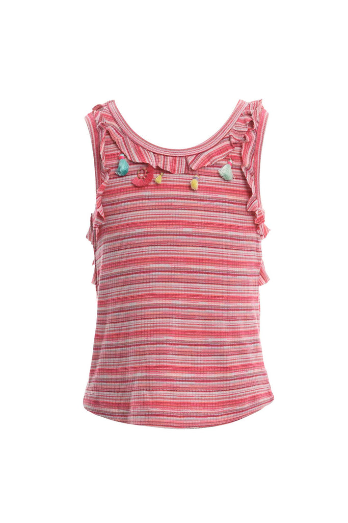 Baby Sara Big Girls Cut Out Back Striped Tank Top