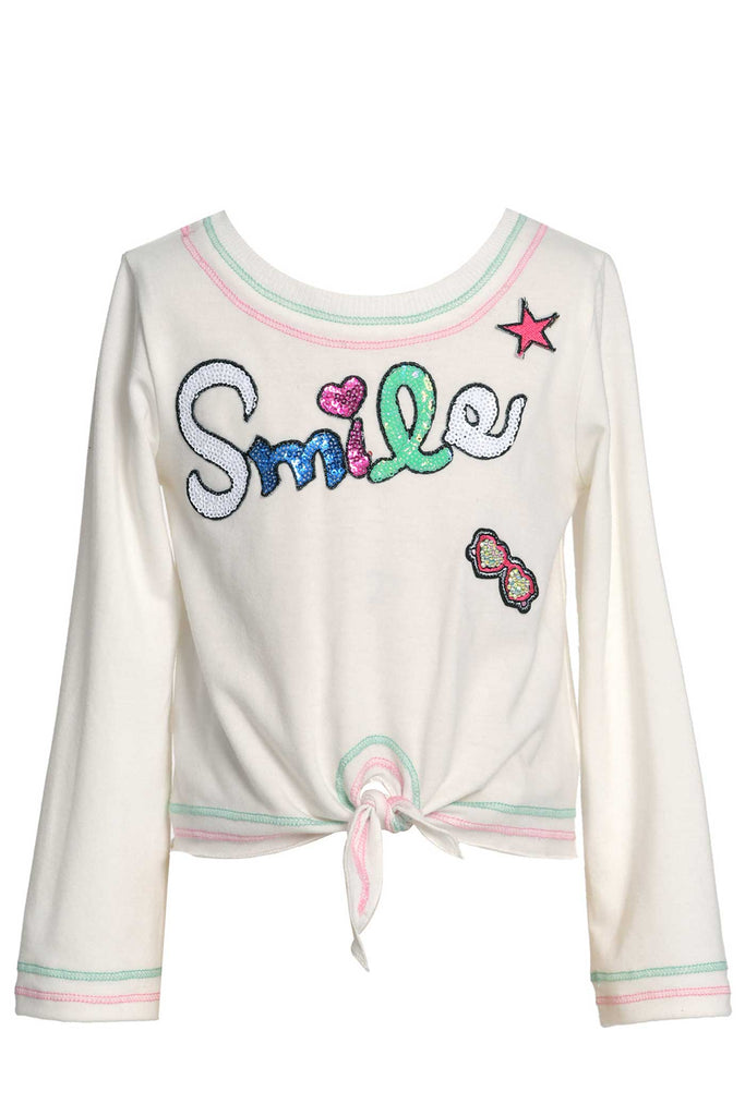Baby Sara Little Girls Tie-Front Long Sleeve T-shirt