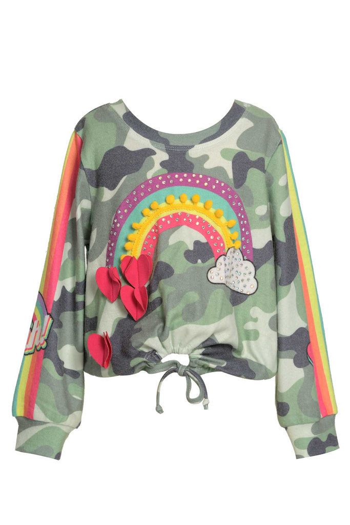 Baby Sara Little Girls Long Sleeve Camo Top with Rainbow