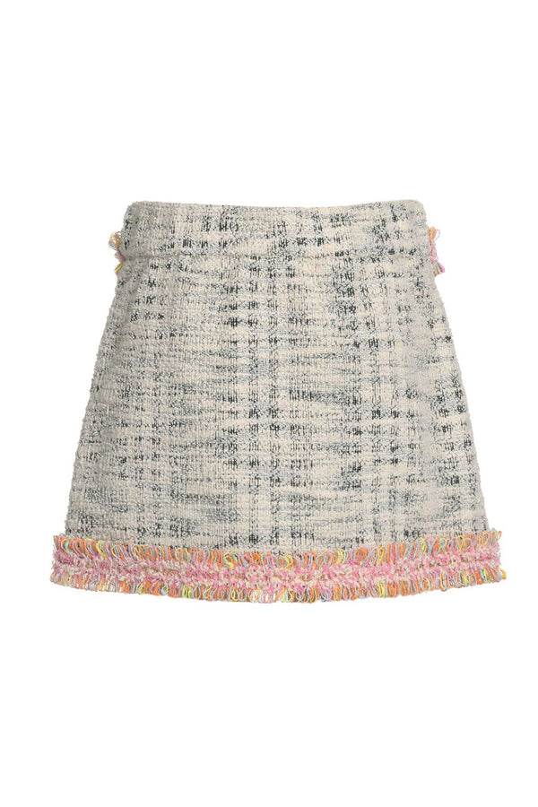 Baby Sara Little Girls Tweed Mini Skirt With Gold Buttons