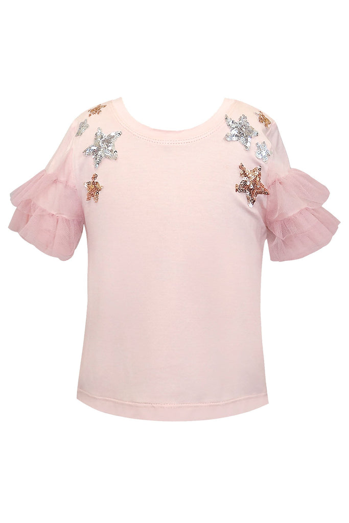 MESH RUFFLE SLEEVE TOP WITH STAR EMBELLISHMENT DETAIL