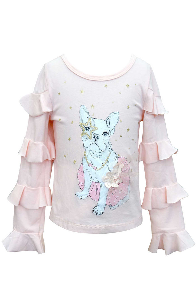 Baby Sara Little Girls Ruffled Long Sleeve Puppy Top