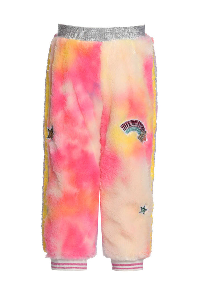 Baby Sara Little Girls Tie Dye Faux Fur Joggers