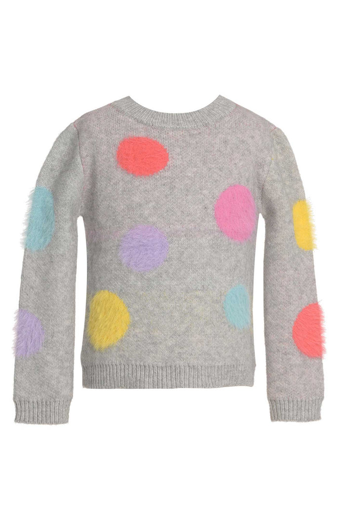 Baby Sara Little Girls Fuzzy Colorful Polka Dot Sweater