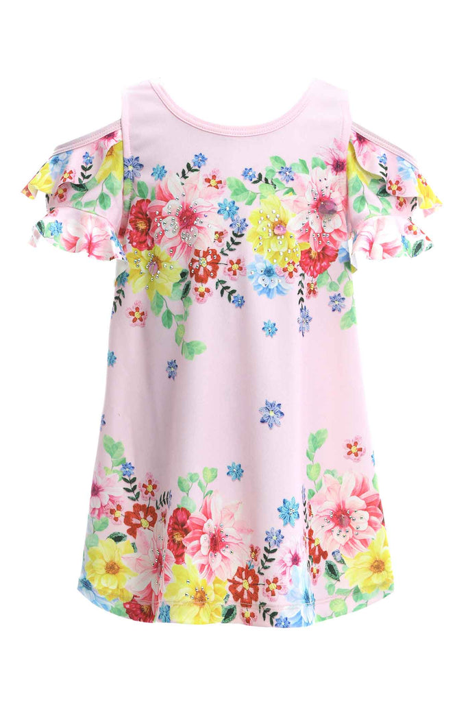 Baby Sara Baby Sara Toddler Girls Cold Shoulder Floral Print Dress