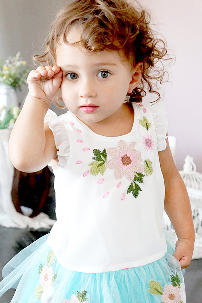Baby Sara Baby Girl Floral Embroidery Tee With Back Cutout