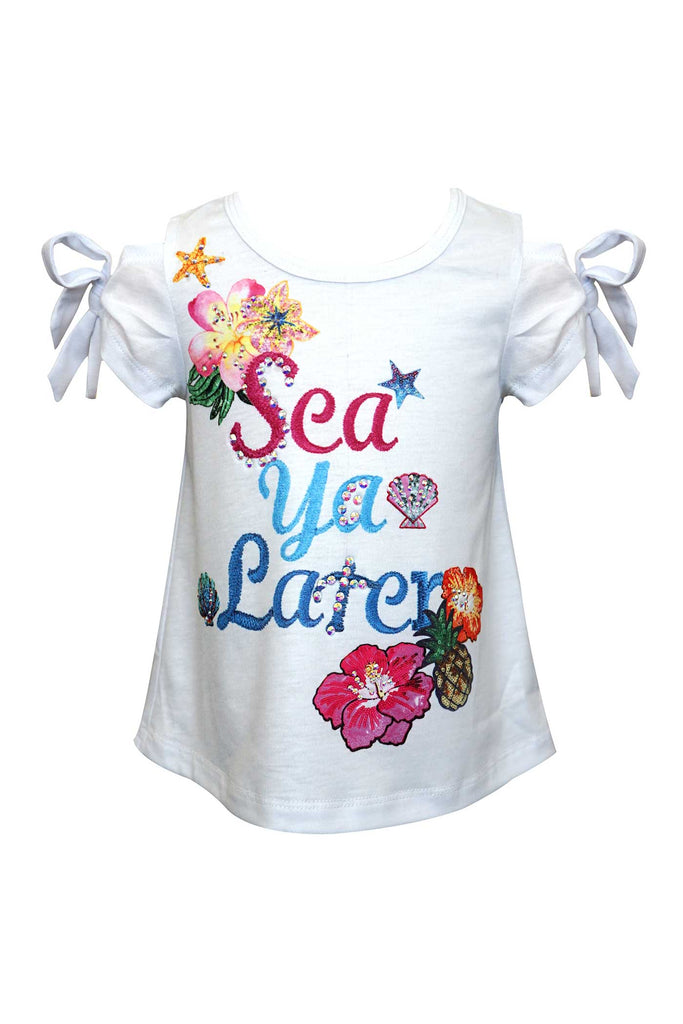 Baby Sara Little Girls Sea Ya Later Cold Shoulder T-shirt