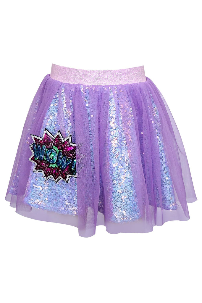 SEQUIN SKIRT W/ MESH OVERLAY AND PATCH DETAIL