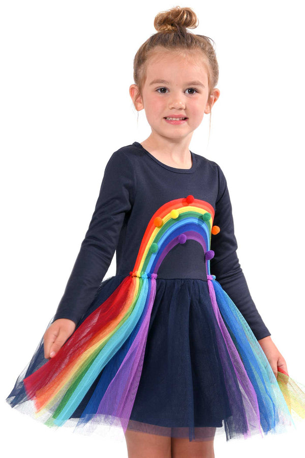 Baby Sara Little Girls Long Sleeve Rainbow Tutu Dress