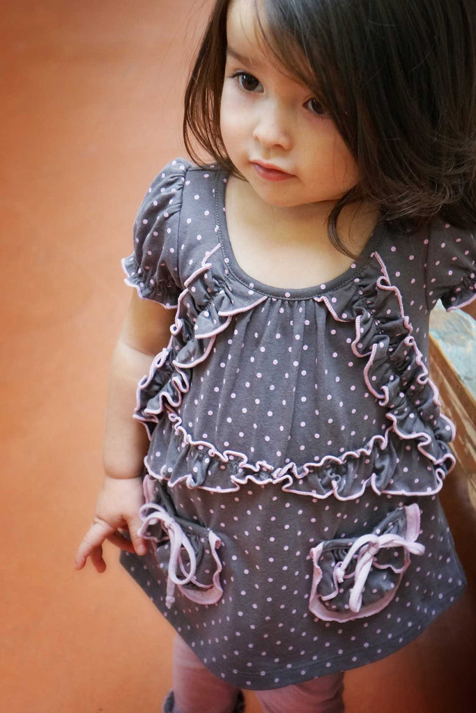 Baby Sara Little Girls Puff Sleeve Polka Dot Dress