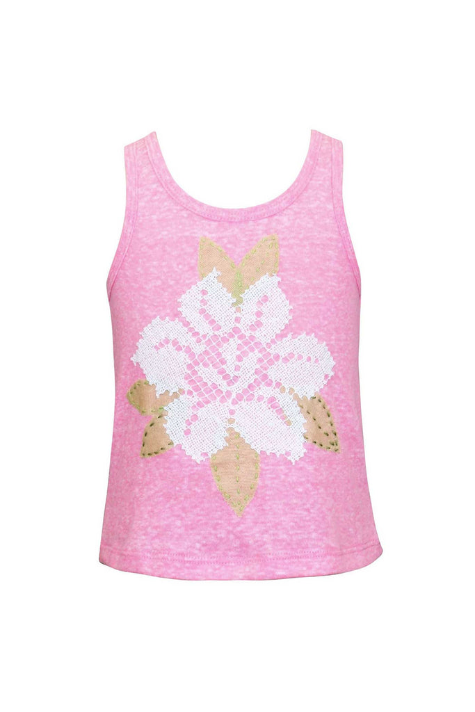 Baby Sara Little Girls Mesh Flower Tank Top