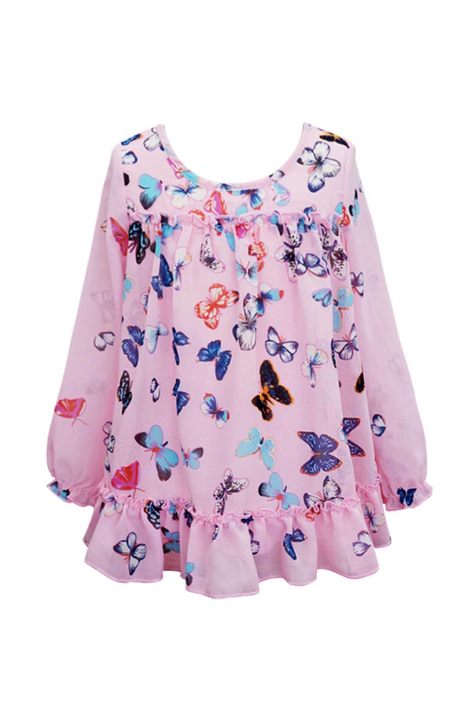 Baby SaraLittle Girls Long Sleeve Butterfly Top