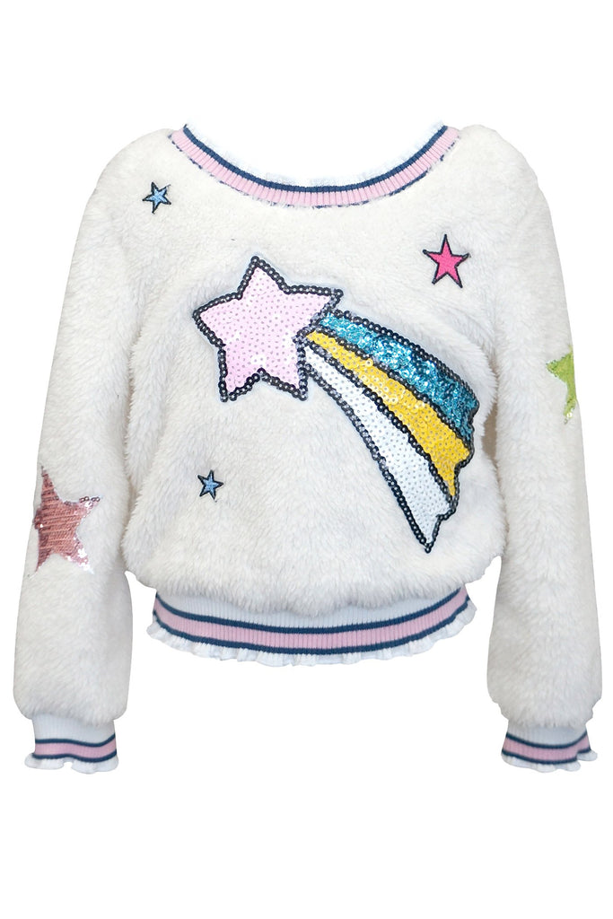 SHERPA TOP WITH STAR PATCH DETAIL