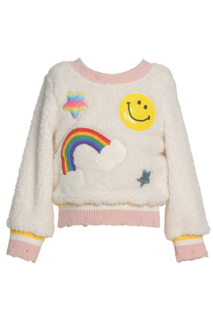 Baby Sara Little Girls Playful Long Sleeve Sherpa Sweatshirt
