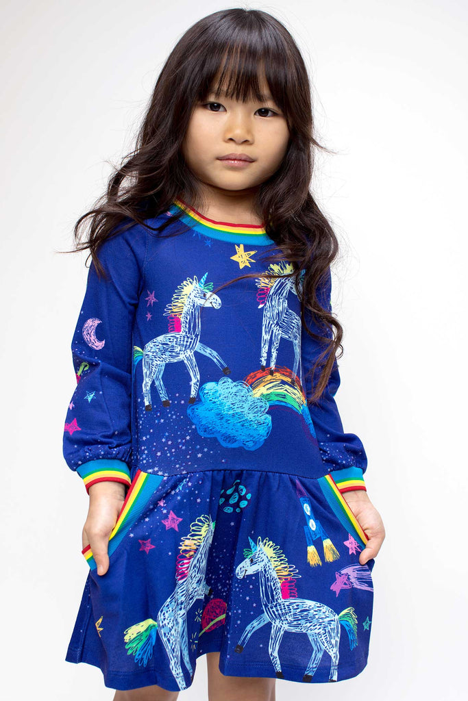 Baby Sara Little Girls Dropped Waist Long Sleeve Unicorn Knit Dress
