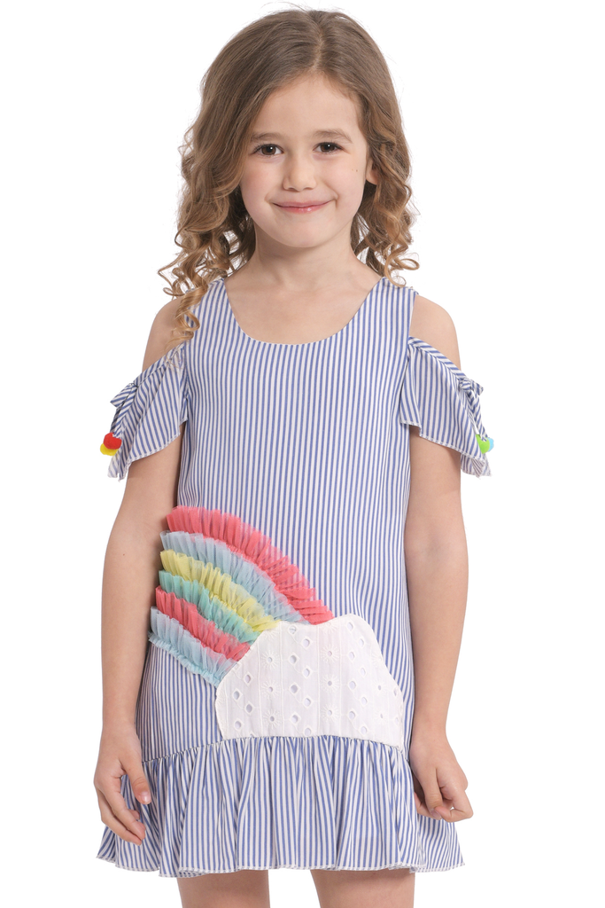 Little Girls Cold Shoulder Pinstriped Rainbow Summer Dress