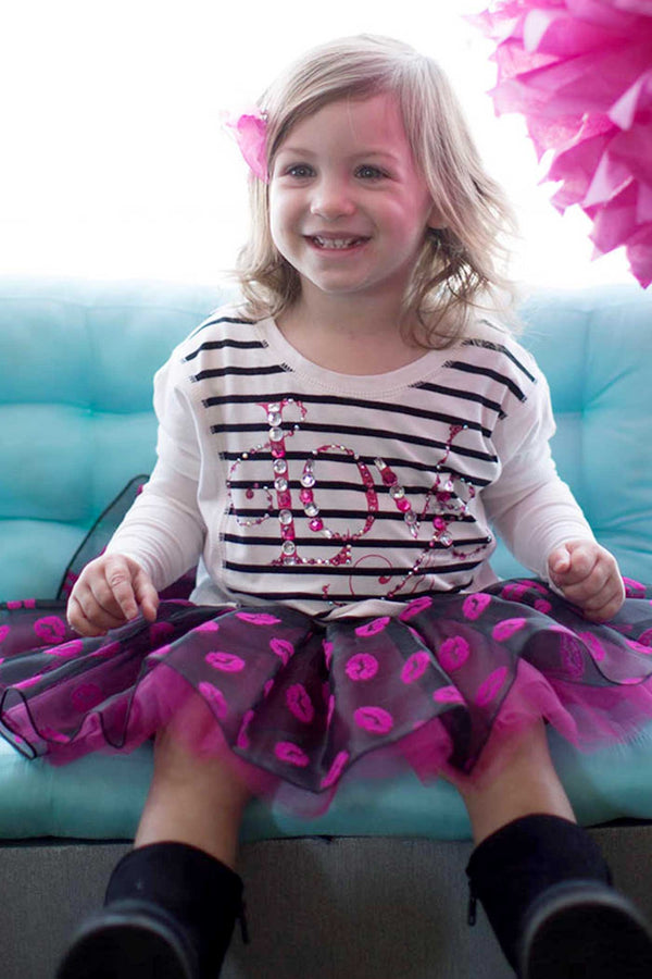 Baby Sara Little Girls Lips All Over Print Tutu Skirt