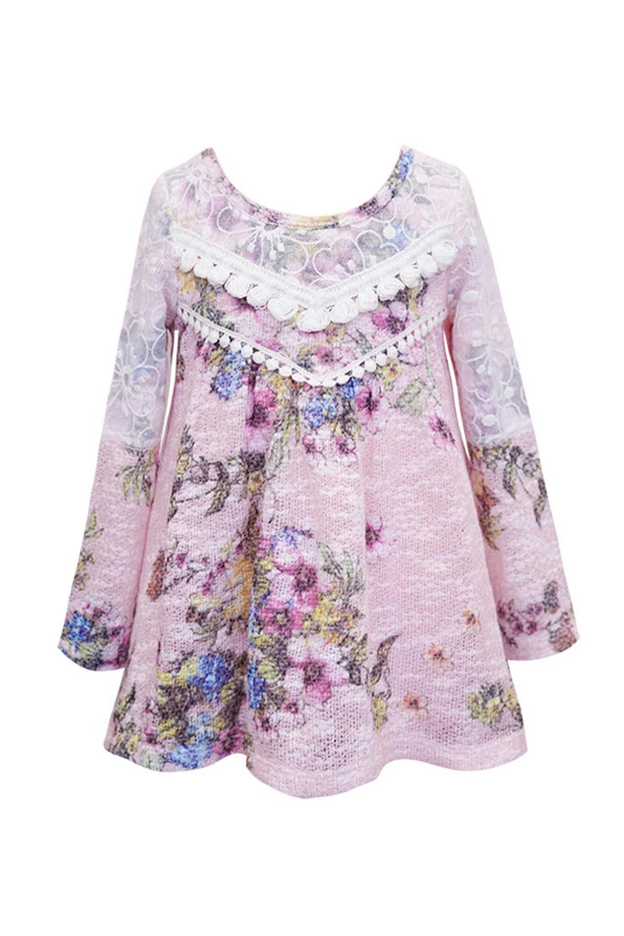 Baby Sara Little Girls Floral Print Long Sleeve Tunic Top