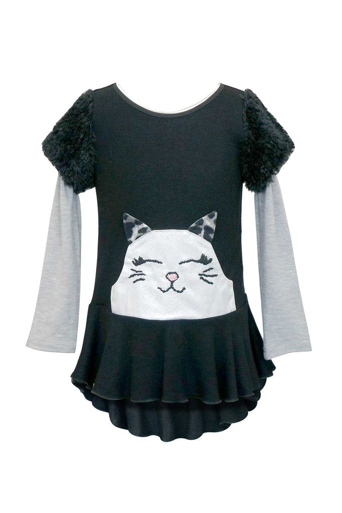 Baby Sara Little Girls Long Sleeve Kitty Tunic Top