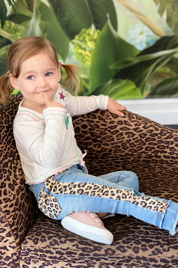 Baby Sara Little Girls Leopard Print Striped Washed Jeans