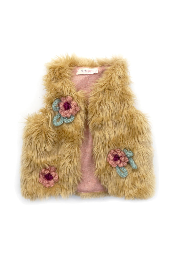 FAUX FUR VEST WITH YARN FLOWER TRIM DETAIL