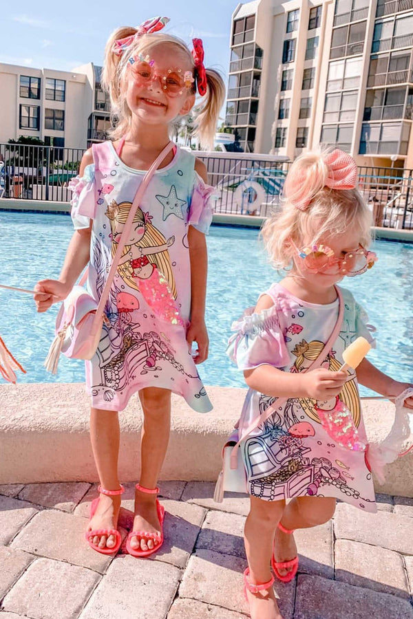 Baby Sara Little Girls Magical Mermaid Cold Shoulder Summer Dress