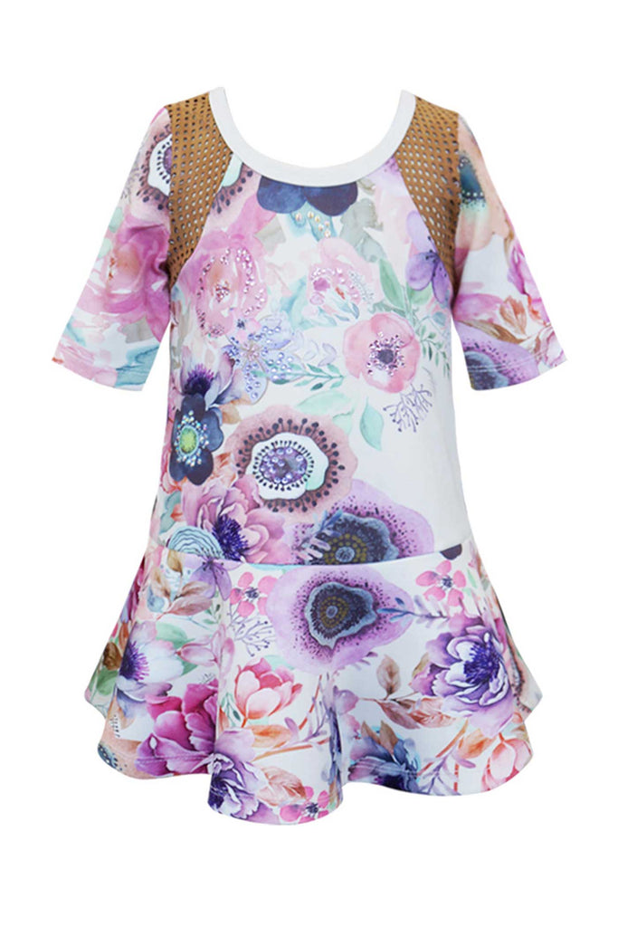 Baby Sara Little Girls 3/4 Sleeve Floral Print Dress